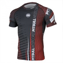 "Rashguard Pit Bull short sleeve ""Charger Red"""
