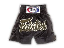"Spodenki Muay Thai Fairtex BS0601 (black/gold/white) ""LACE"" ""K"""