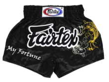 "Spodenki Muay Thai Fairtex BS0639 (black) ""My Fortune"" ""K"""
